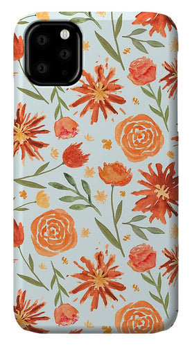 Burnt Orange Flower Burst Pattern - Phone Case