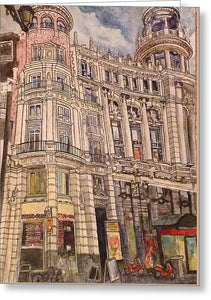 City Street In Madrid  - Greeting Card