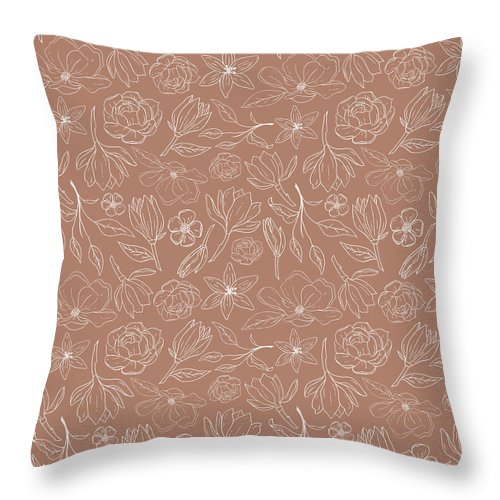 Copper Magnolia Pattern - Throw Pillow