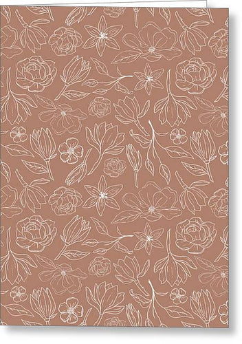 Copper Magnolia Pattern - Greeting Card