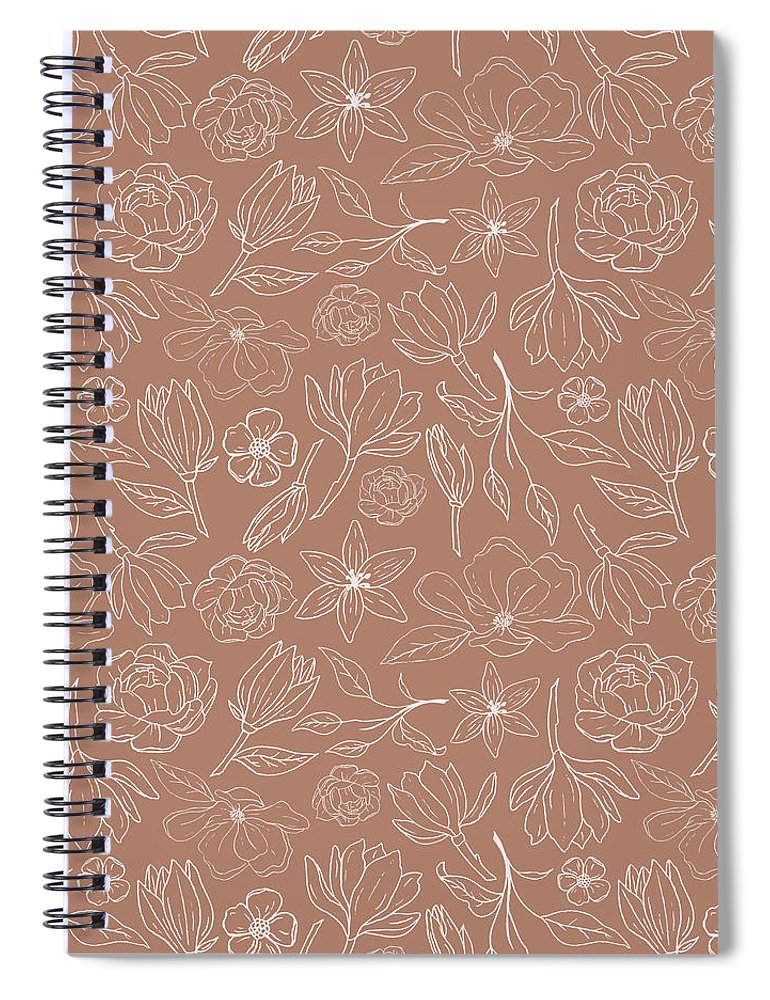 Copper Magnolia Pattern - Spiral Notebook