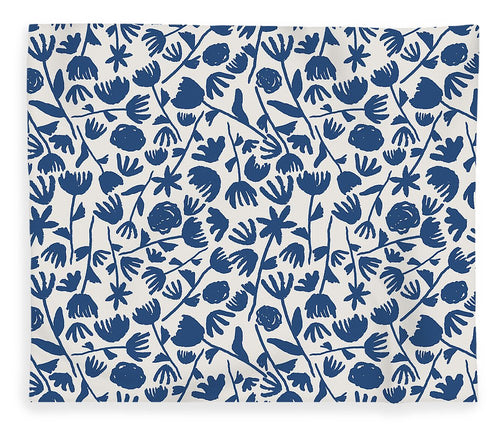Dark Blue Floral Pattern - Blanket