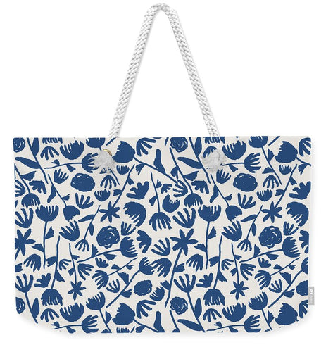 Dark Blue Floral Pattern - Weekender Tote Bag