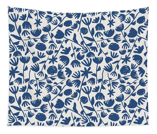 Dark Blue Floral Pattern - Tapestry
