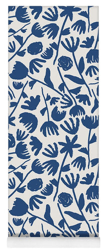 Dark Blue Floral Pattern - Yoga Mat