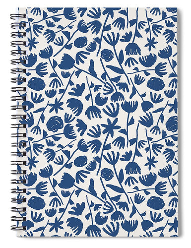 Dark Blue Floral Pattern - Spiral Notebook
