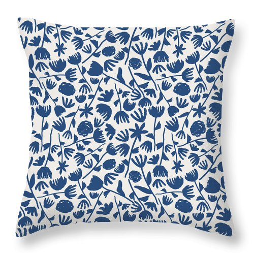 Dark Blue Floral Pattern - Throw Pillow