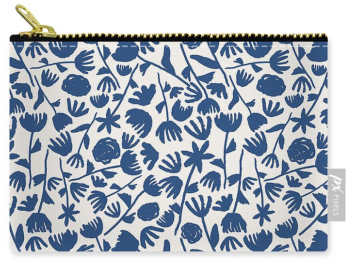 Dark Blue Floral Pattern - Carry-All Pouch