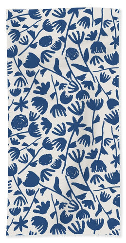 Dark Blue Floral Pattern - Bath Towel