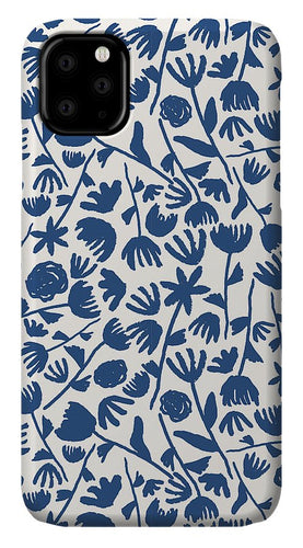 Dark Blue Floral Pattern - Phone Case