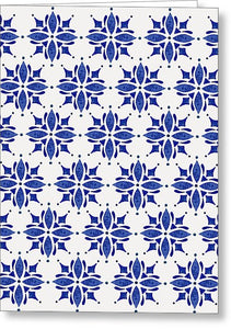 Dark Blue Tile Pattern - Greeting Card