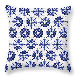 Dark Blue Tile Pattern - Throw Pillow