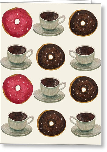 Donuts And Coffee - Greeting Card