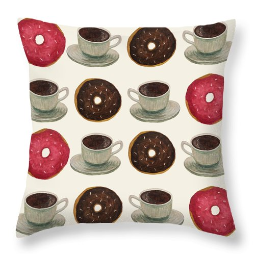Donuts And Coffee - Throw Pillow
