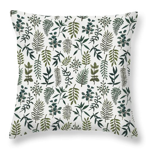 Fern Watercolor Pattern - Throw Pillow