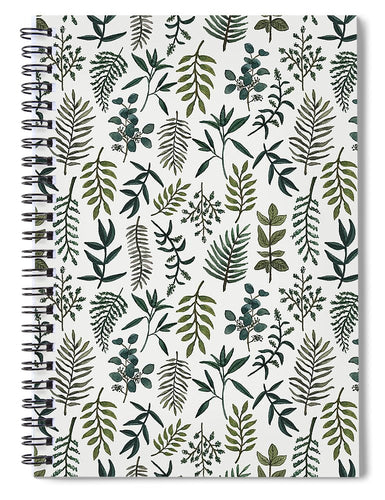 Fern Watercolor Pattern - Spiral Notebook
