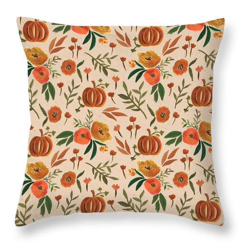 Floral Fall Pumpkin Pattern - Throw Pillow