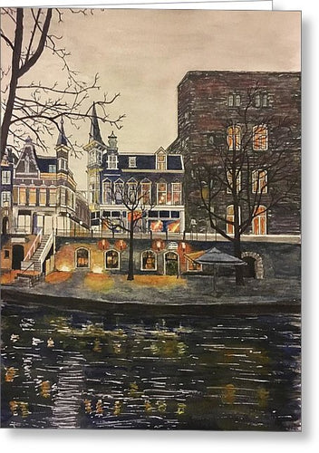 Glistening Street In Amsterdam - Greeting Card