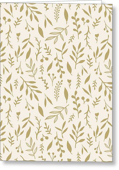 Gold Falling Leaves Pattern - Greeting Card