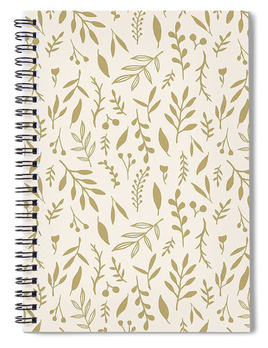 Gold Falling Leaves Pattern - Spiral Notebook