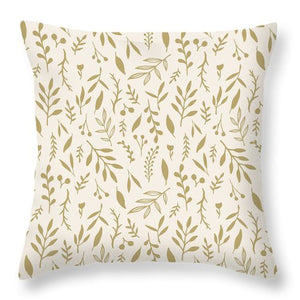 Gold Falling Leaves Pattern - Throw Pillow