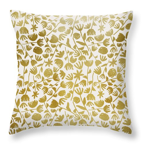 Gold Ink Floral Pattern - Throw Pillow