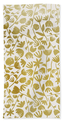 Gold Ink Floral Pattern - Beach Towel