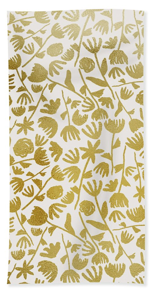 Gold Floral Pattern - Bath Towel