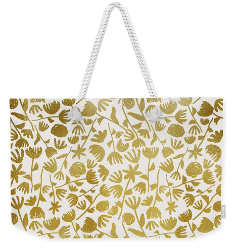Gold Ink Floral Pattern - Weekender Tote Bag