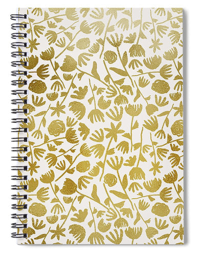 Gold Ink Floral Pattern - Spiral Notebook