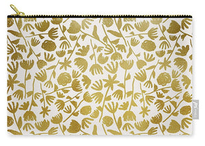 Gold Ink Floral Pattern - Carry-All Pouch