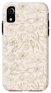 Gold Magnolia Pattern - Phone Case