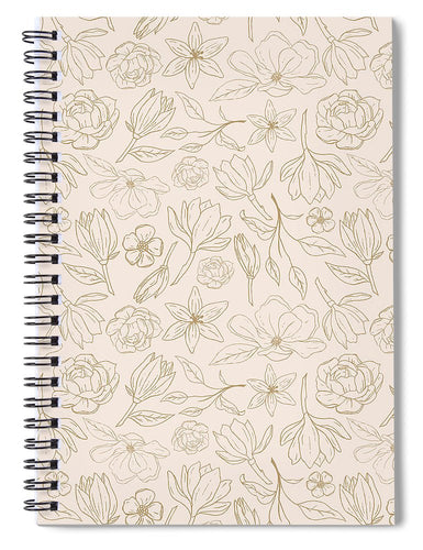 Gold Magnolia Pattern - Spiral Notebook