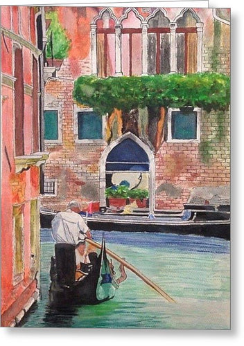 Gondola Ride Along Canal - Greeting Card