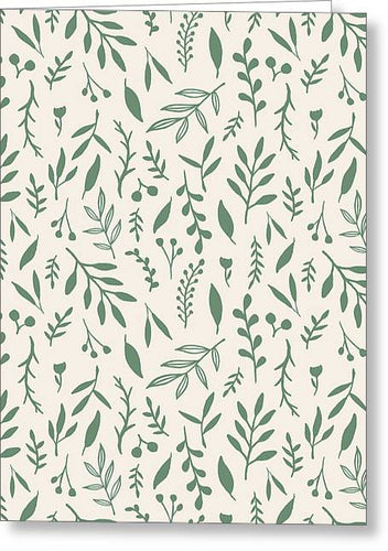 Green Falling Leaves Pattern - Greeting Card