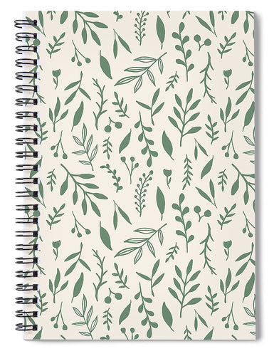 Green Falling Leaves Pattern - Spiral Notebook