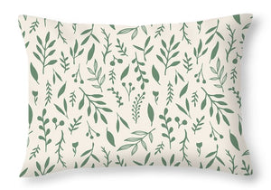 Green Falling Leaves Pattern - Throw Pillow