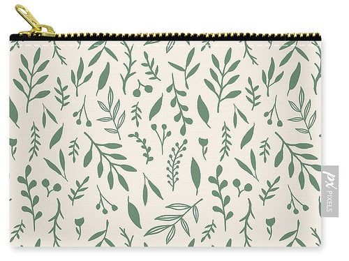 Green Falling Leaves Pattern - Carry-All Pouch