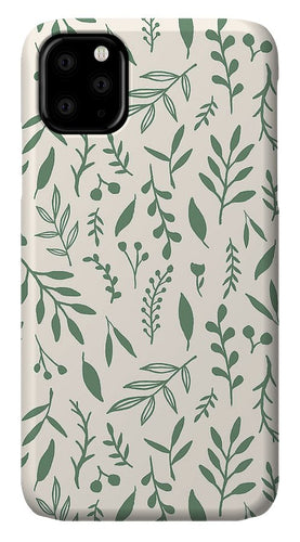 Green Falling Leaves Pattern - Phone Case