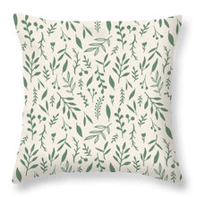 Load image into Gallery viewer, Green Falling Leaves Pattern - Throw Pillow