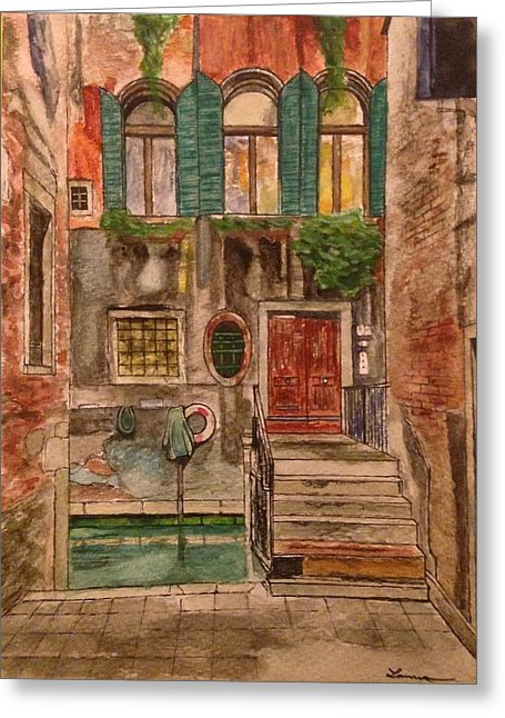 Green Shutters - Venice - Greeting Card