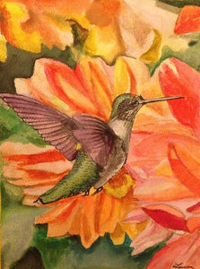 Hummingbird With Coral Flowers - Wood Print