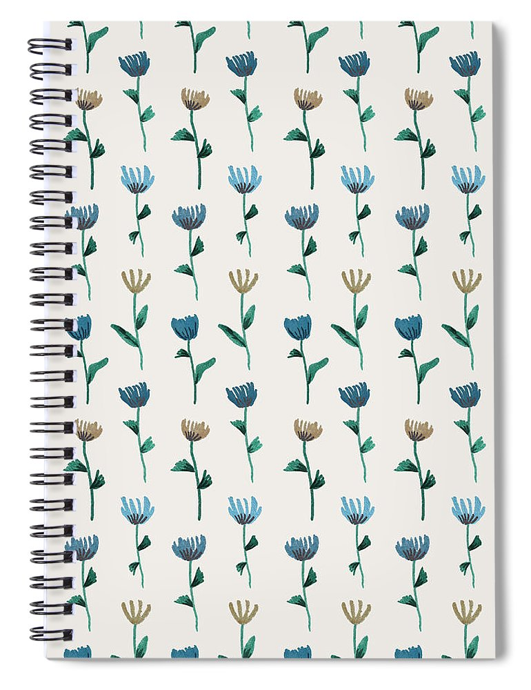 Colorful Ink Flower Pattern - Spiral Notebook