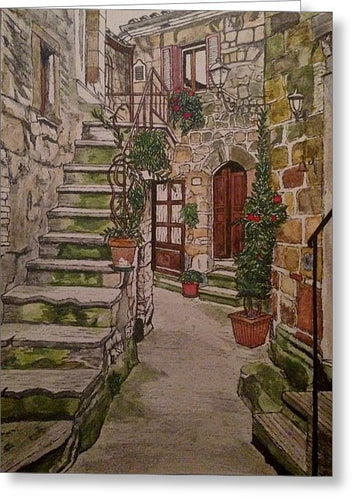 Italian Garden Alley - Greeting Card