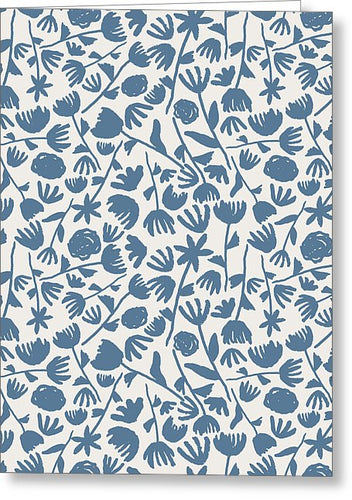 Light Blue Floral Pattern - Greeting Card