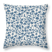 Load image into Gallery viewer, Light Blue Floral Pattern - Throw Pillow