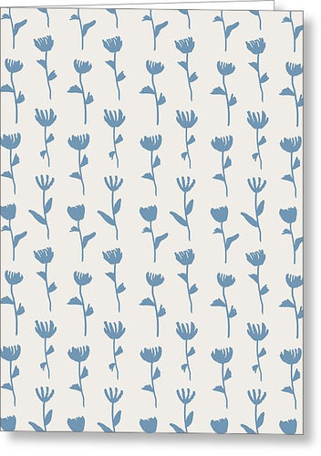 Light Blue Flower Pattern - Greeting Card