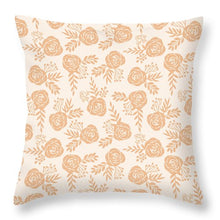 Load image into Gallery viewer, Light Orange Floral Pattern - Throw Pillow