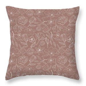 Mauve Magnolia Pattern - Throw Pillow