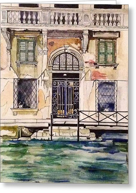 Old Door On Venice Canal - Greeting Card